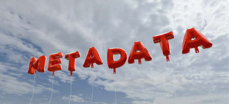 metadata: METADATA - red foil balloons on blue sky - 3D rendered royalty free stock picture. This image can be used for an online website banner ad or a print postcard.
