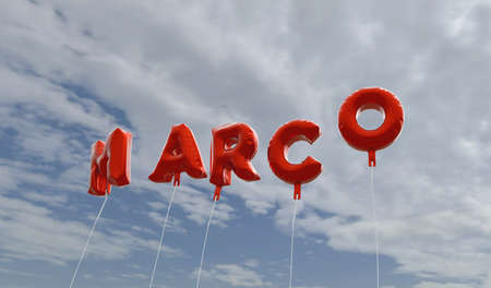 marco: MARCO - red foil balloons on blue sky - 3D rendered royalty free stock picture. This image can be used for an online website banner ad or a print postcard. Stock Photo