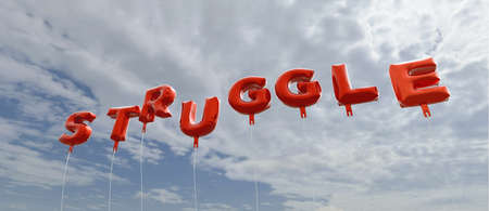 STRUGGLE - red foil balloons on blue sky - 3D rendered royalty free stock picture. This image can be used for an online website banner ad or a print postcard. Stock Photo