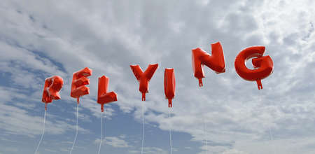 RELYING - red foil balloons on blue sky - 3D rendered royalty free stock picture. This image can be used for an online website banner ad or a print postcard. Stock Photo