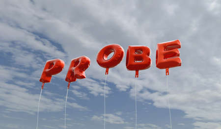 probe: PROBE - red foil balloons on blue sky - 3D rendered royalty free stock picture. This image can be used for an online website banner ad or a print postcard.