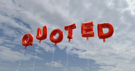 QUOTED - red foil balloons on blue sky - 3D rendered royalty free stock picture. This image can be used for an online website banner ad or a print postcard.