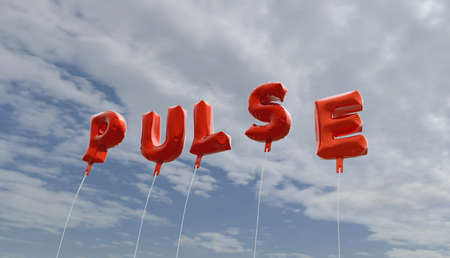 royalty free: PULSE - red foil balloons on blue sky - 3D rendered royalty free stock picture. This image can be used for an online website banner ad or a print postcard.