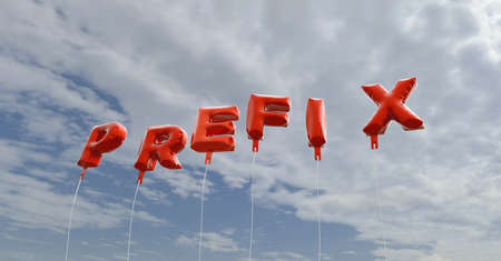 prefix: PREFIX - red foil balloons on blue sky - 3D rendered royalty free stock picture. This image can be used for an online website banner ad or a print postcard.