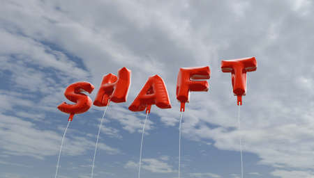 shaft: SHAFT - red foil balloons on blue sky - 3D rendered royalty free stock picture. This image can be used for an online website banner ad or a print postcard.