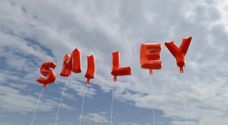 SMILEY - red foil balloons on blue sky - 3D rendered royalty free stock picture. This image can be used for an online website banner ad or a print postcard.