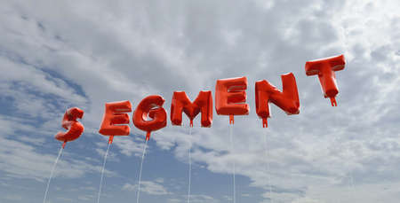 SEGMENT - red foil balloons on blue sky - 3D rendered royalty free stock picture. This image can be used for an online website banner ad or a print postcard.