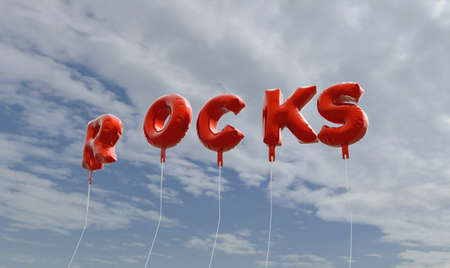 ROCKS - red foil balloons on blue sky - 3D rendered royalty free stock picture. This image can be used for an online website banner ad or a print postcard. Stock Photo