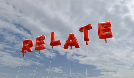 RELATE - red foil balloons on blue sky - 3D rendered royalty free stock picture. This image can be used for an online website banner ad or a print postcard.