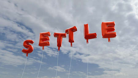 settle: SETTLE - red foil balloons on blue sky - 3D rendered royalty free stock picture. This image can be used for an online website banner ad or a print postcard. Stock Photo
