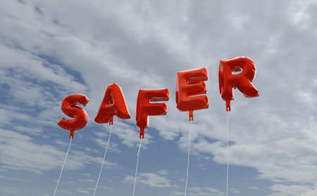 SAFER - red foil balloons on blue sky - 3D rendered royalty free stock picture. This image can be used for an online website banner ad or a print postcard.