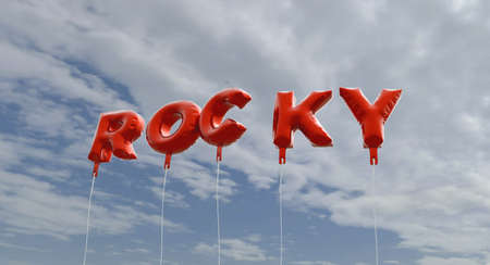 rocky: ROCKY - red foil balloons on blue sky - 3D rendered royalty free stock picture. This image can be used for an online website banner ad or a print postcard. Stock Photo