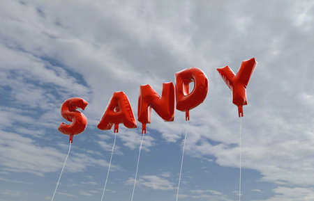 SANDY - red foil balloons on blue sky - 3D rendered royalty free stock picture. This image can be used for an online website banner ad or a print postcard. Stock Photo