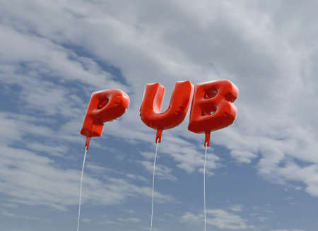 royalty free: PUB - red foil balloons on blue sky - 3D rendered royalty free stock picture. This image can be used for an online website banner ad or a print postcard.