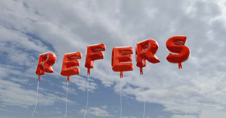 refers: REFERS - red foil balloons on blue sky - 3D rendered royalty free stock picture. This image can be used for an online website banner ad or a print postcard. Stock Photo