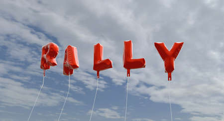 RALLY - red foil balloons on blue sky - 3D rendered royalty free stock picture. This image can be used for an online website banner ad or a print postcard.
