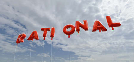 rational: RATIONAL - red foil balloons on blue sky - 3D rendered royalty free stock picture. This image can be used for an online website banner ad or a print postcard. Stock Photo