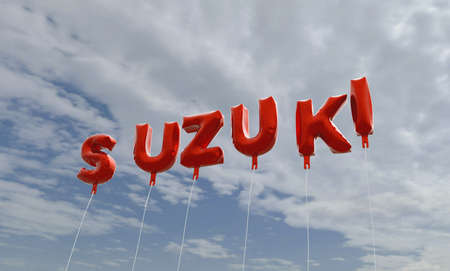 SUZUKI - red foil balloons on blue sky - 3D rendered royalty free stock picture. This image can be used for an online website banner ad or a print postcard.