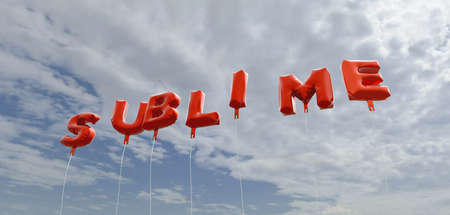 sublime: SUBLIME - red foil balloons on blue sky - 3D rendered royalty free stock picture. This image can be used for an online website banner ad or a print postcard.