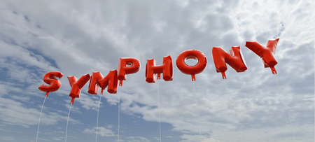 symphony: SYMPHONY - red foil balloons on blue sky - 3D rendered royalty free stock picture. This image can be used for an online website banner ad or a print postcard. Stock Photo