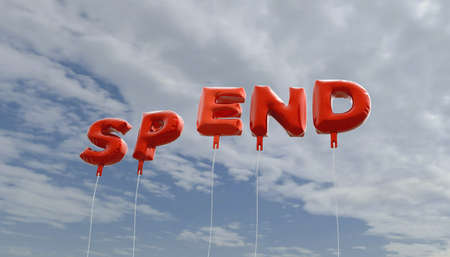 spend: SPEND - red foil balloons on blue sky - 3D rendered royalty free stock picture. This image can be used for an online website banner ad or a print postcard.