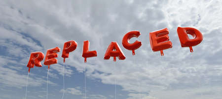 REPLACED - red foil balloons on blue sky - 3D rendered royalty free stock picture. This image can be used for an online website banner ad or a print postcard.