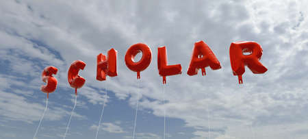 scholar: SCHOLAR - red foil balloons on blue sky - 3D rendered royalty free stock picture. This image can be used for an online website banner ad or a print postcard.