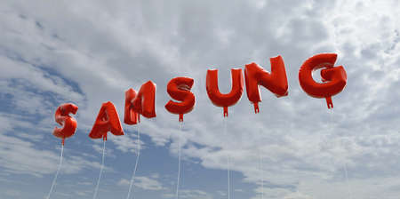 SAMSUNG - red foil balloons on blue sky - 3D rendered royalty free stock picture. This image can be used for an online website banner ad or a print postcard. Editorial