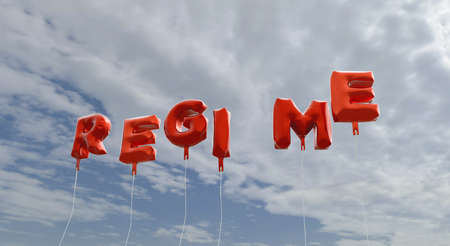 regime: REGIME - red foil balloons on blue sky - 3D rendered royalty free stock picture. This image can be used for an online website banner ad or a print postcard.