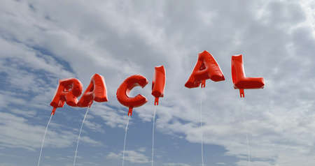 racial: RACIAL - red foil balloons on blue sky - 3D rendered royalty free stock picture. This image can be used for an online website banner ad or a print postcard.