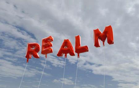 리얼 - 푸른 하늘 -3d에 빨간색 호 풍선 풍선 렌더링 로열티 무료 재고 사진입니다. 이 이미지는 온라인 웹 사이트 배너 광고 또는 인쇄 엽서에 사용할