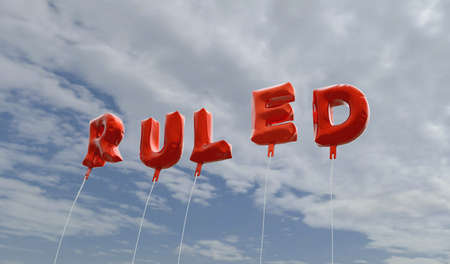 ruled: RULED - red foil balloons on blue sky - 3D rendered royalty free stock picture. This image can be used for an online website banner ad or a print postcard.