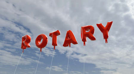 ROTARY - red foil balloons on blue sky - 3D rendered royalty free stock picture. This image can be used for an online website banner ad or a print postcard. Stock Photo