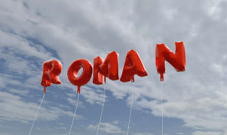 roman alphabet: ROMAN - red foil balloons on blue sky - 3D rendered royalty free stock picture. This image can be used for an online website banner ad or a print postcard. Stock Photo