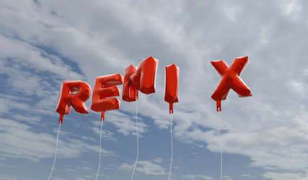 remix: REMIX - red foil balloons on blue sky - 3D rendered royalty free stock picture. This image can be used for an online website banner ad or a print postcard. Stock Photo