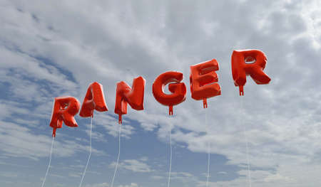 ranger: RANGER - red foil balloons on blue sky - 3D rendered royalty free stock picture. This image can be used for an online website banner ad or a print postcard.