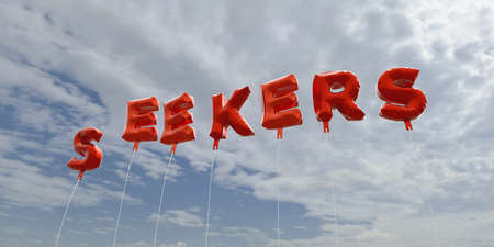 seekers: SEEKERS - red foil balloons on blue sky - 3D rendered royalty free stock picture. This image can be used for an online website banner ad or a print postcard. Stock Photo