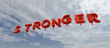 stronger: STRONGER - red foil balloons on blue sky - 3D rendered royalty free stock picture. This image can be used for an online website banner ad or a print postcard.