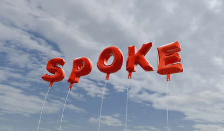 spoke: SPOKE - red foil balloons on blue sky - 3D rendered royalty free stock picture. This image can be used for an online website banner ad or a print postcard. Stock Photo