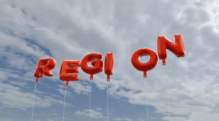 REGION - red foil balloons on blue sky - 3D rendered royalty free stock picture. This image can be used for an online website banner ad or a print postcard.
