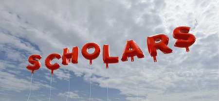 scholars: SCHOLARS - red foil balloons on blue sky - 3D rendered royalty free stock picture. This image can be used for an online website banner ad or a print postcard. Stock Photo
