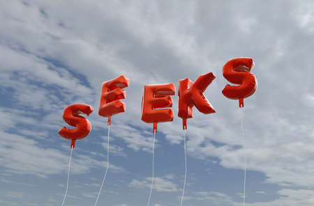 SEEKS - red foil balloons on blue sky - 3D rendered royalty free stock picture. This image can be used for an online website banner ad or a print postcard.