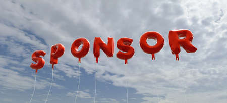SPONSOR - red foil balloons on blue sky - 3D rendered royalty free stock picture. This image can be used for an online website banner ad or a print postcard.
