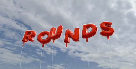 rounds: ROUNDS - red foil balloons on blue sky - 3D rendered royalty free stock picture. This image can be used for an online website banner ad or a print postcard. Stock Photo