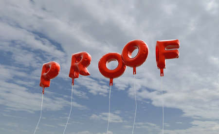 PROOF - red foil balloons on blue sky - 3D rendered royalty free stock picture. This image can be used for an online website banner ad or a print postcard.