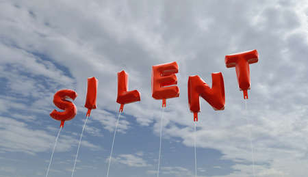 silent: SILENT - red foil balloons on blue sky - 3D rendered royalty free stock picture. This image can be used for an online website banner ad or a print postcard. Stock Photo
