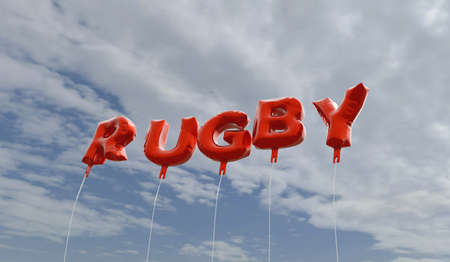 RUGBY - red foil balloons on blue sky - 3D rendered royalty free stock picture. This image can be used for an online website banner ad or a print postcard.