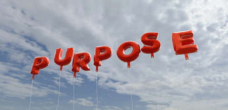 PURPOSE - red foil balloons on blue sky - 3D rendered royalty free stock picture. This image can be used for an online website banner ad or a print postcard. Banque d'images