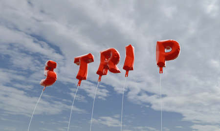STRIP - red foil balloons on blue sky - 3D rendered royalty free stock picture. This image can be used for an online website banner ad or a print postcard.