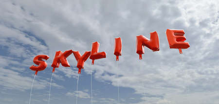 copy text: SKYLINE - red foil balloons on blue sky - 3D rendered royalty free stock picture. This image can be used for an online website banner ad or a print postcard.